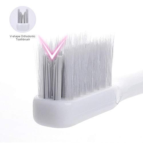 HYY V-Form kieferorthopädische Zahnbürste Zahnbürste Pinsel spezielle Zahnspangen Zahn Sockel weiche Sendehaar Zahnbürste für Erwachsene Kinder