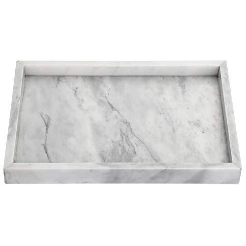 SUMTREE Serviertablett aus Marmor,Servierplatte, Tablett,Schmuckteller für Couchtisch,Wohnzimmer, Schreibtisch,Küche,Badezimmer(Rchteckig,Grau)