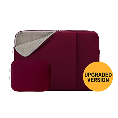 RAINYEAR 13 Inch Laptop Sleeve Soft Lining Case Pocket Cover with Accessories Pouch,Specially Compatible 2018 2019 New Model 13.3 MacBook Air/Pro/Touch Bar A1932 A1706 A1708(Red,Upgraded Version)