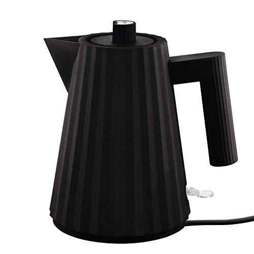 Alessi Plissè MDL06/1 B - Design Elektrischer Wasserkocher aus Thermoplastischem Harz, 100 cl, Schwarz
