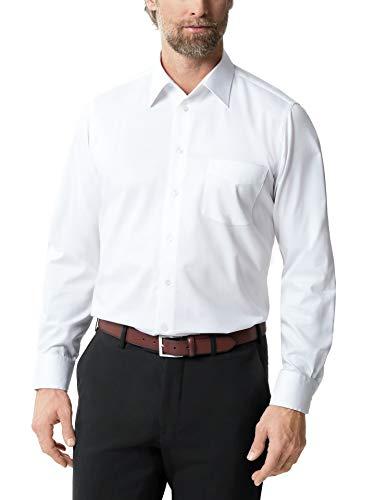 Walbusch Herren Hemd Bügelfrei Naturstretch einfarbig Weiß 42 - Langarm extra lang