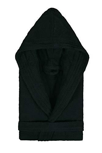 Textiles Vertrauen Pure - Albornoz con capucha para mujer, color Negro, talla Medium