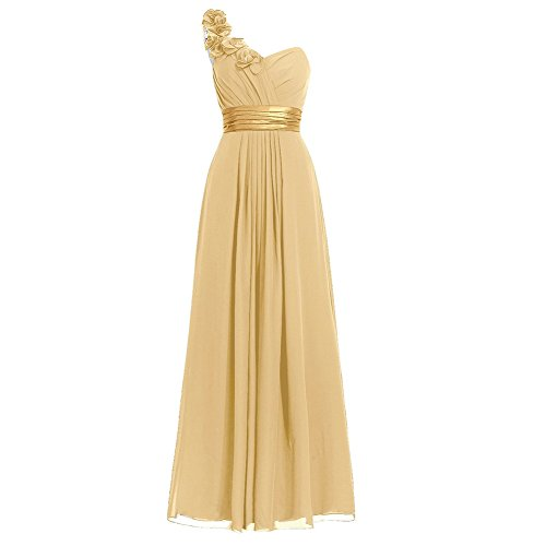 H.S.D Women's Simple Floral One Shoulder Long Bridesmaid Dresses Prom Gowns Gold