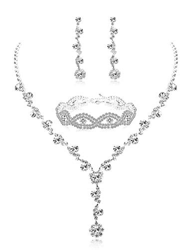 Adramata Rhinestone Bridesmaid Jewelry Set Ladies Necklace and Earrings Set Wedding Crystal Bracelet
