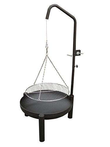 Hero Zwenkbarbecue met grillplaat en zwengel 60 cm vuurschaal en 50 cm grillrooster van roestvrij staal