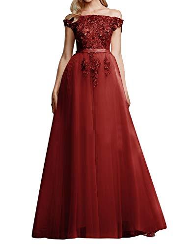 Vintage Brautkleid Abendkleider Lang A-Linie Tüll Ballkleider Hochzeitskleider Standesamt Partykleider Festkleider Burgund 54