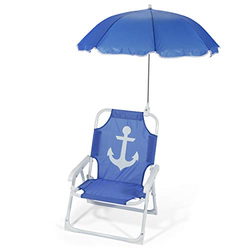 Heritage Kids Outdoor Beach Chair for Kids with Clip on Umbrella, Blue Anchor