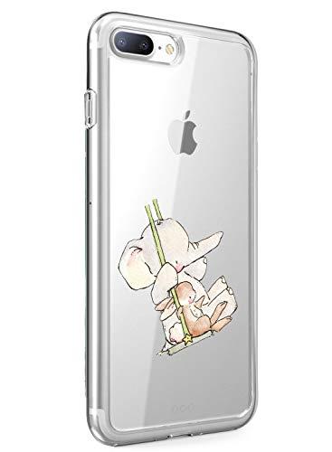 Oihxse Compatible pour iPhone 6 Plus/iPhone 6S Plus Coque [Mignon Transparente Éléphant Lapin Motif Séries] Housse TPU Souple Protection Étui Ultra Mince Anti Choc Animal Case (A14)