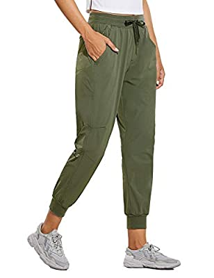 BALEAF Women's 26 Inches Running Joggers Pants Lightweight Athletic Running Sport Pants Quick Dry Army Green XS