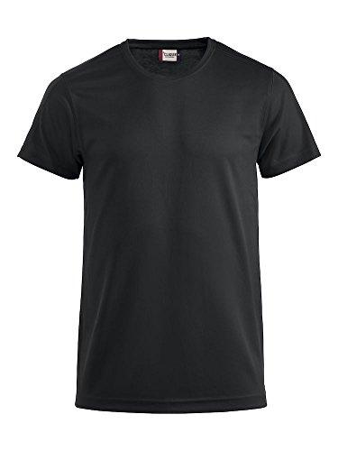 Clique Herren Funktions T-Shirt aus Polyester T-Shirt für den Sport, perforiert und feuchtigkeitsabführend in 10 Farben S M L XL XXL XXXL XXXXL (Schwarz, XL)