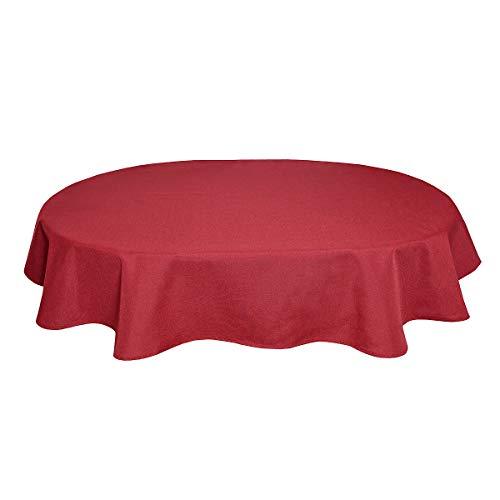 Tischdecke Leinenoptik Leinen Lotuseffekt Wasserabweisend Lotus Oval 160x260 cm Rot