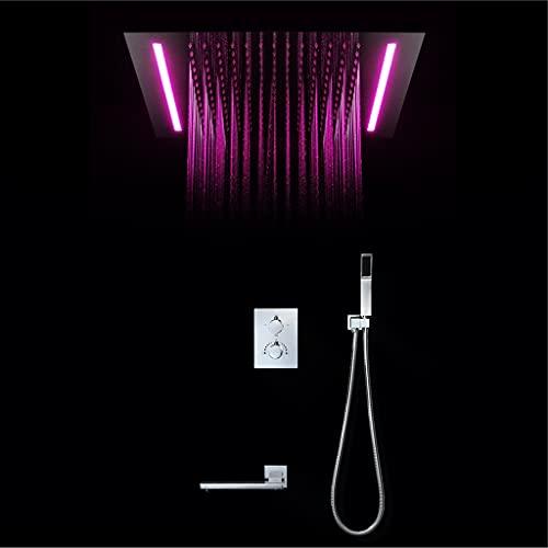 GYL Cabezal de Ducha Tipo Lluvia Empotrado Temperatura Constante, Luz LED Control Remoto de 16 Colores para Colorear Luces, Juego de grifos de Ducha (Color : A2)