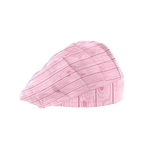 Gorra de mujer para cabello largo con banda elástica ajustable para el sudor Gorras de trabajo para hombres Bufanda de cabeza impresa 3D Sombreros de madera rosa claro pastel