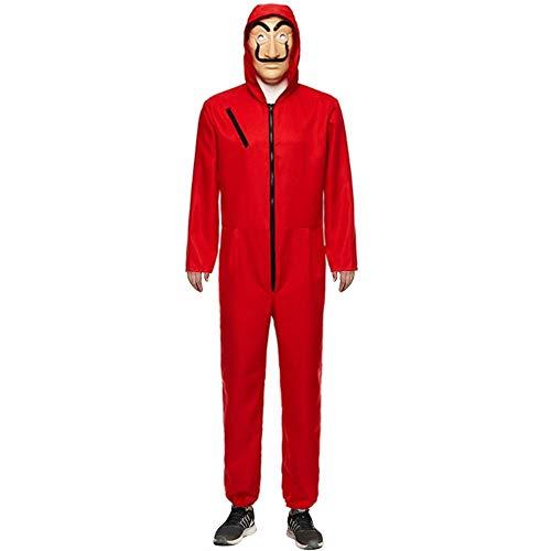 UnisexLa Casa De Pape Maske Cosplay Bekleidung Pullover Kostüme Body Suit Rot Anzug Halloween Overall Jumpsuit (Overall+Maske, Large)
