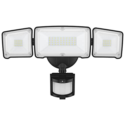 GLORIOUS-LITE LED Security Lights Motion Sensor Outdoor, 35W 3500LM Motion Sensor Flood Light, Motion Sensor Light with 3 Adjustable Head, 5500K, IP65 Waterproof for Porch Garage Yard