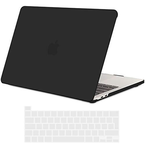 TECOOL Custodia MacBook PRO 13 Pollici 2020 (Modello: A2338 M1 / A2289 / A2251), Plastica Cover Case Rigida e Copritastiera in Silicone per MacBook PRO 13.3 con Touch Bar - Nero