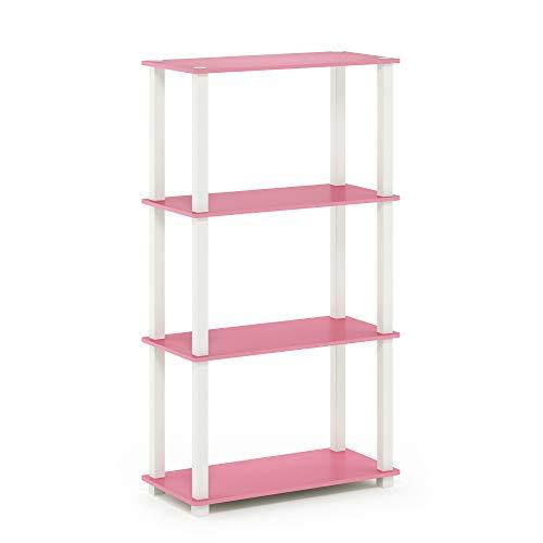 FURINNO Turn-N-Tube Display Rack, 3-Tier Single, Pink/White