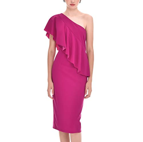 Vestido Mujer Fiesta Evento Elegante Midi Liso Entallado Hombro descubierto (Bouganvilla, s) P220516