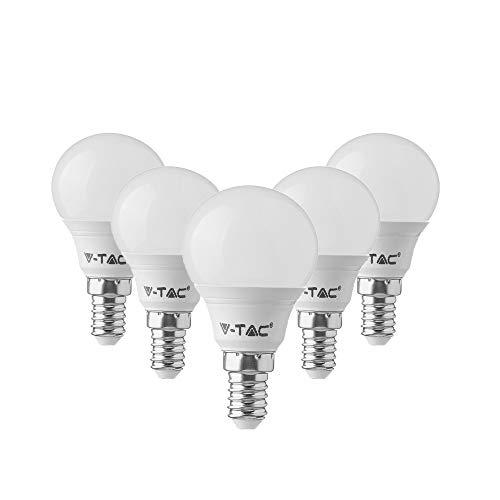 V-TAC E14 LED Lampe P45, Tropfenform, 7W (ersetzt 45W), Tageslicht Weiß, 5er Pack
