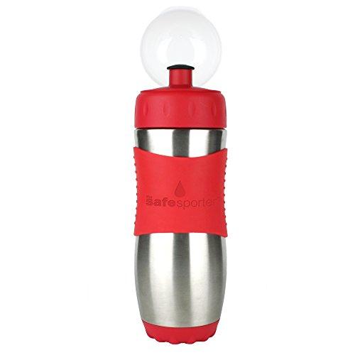 Kid Basix KB-SafeSporter - Botella infantil con boquilla (475 ml), color rojo