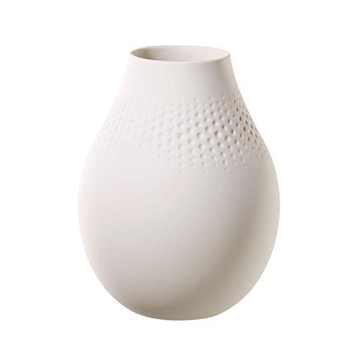 Villeroy & Boch Collier Blanc Vase Perle No. 2, 16x16x20 cm, Premium Porzellan, Weiß