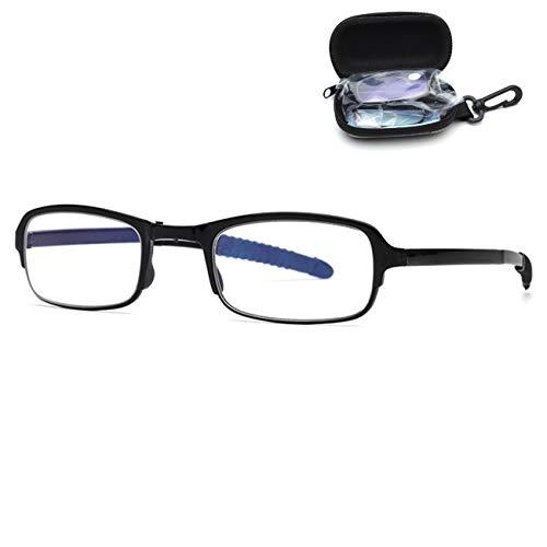 Opvouwbare leesbril voor dames en heren, compact draagbaar, lichtgewicht, opvouwbaar, ultradunne Presbyopie-leesbril in zwart voor op reis, bevat de val 1.0,1.5,2,0,2,5,0