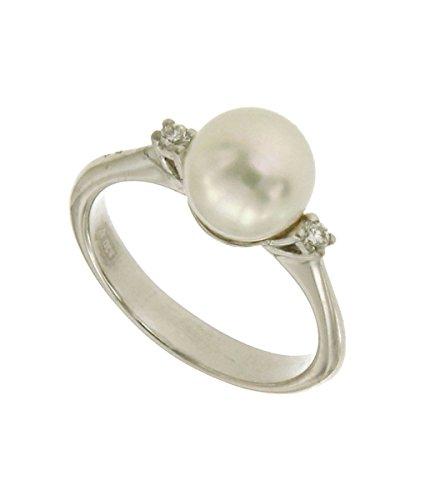 Orolab Anello in Oro Bianco 750 18kt con Perla e Diamanti - N308