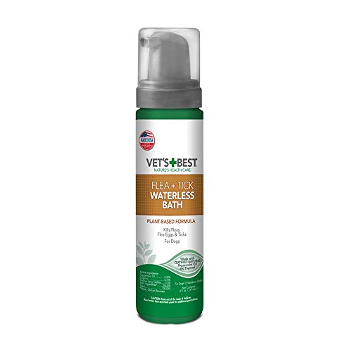 Vet's Best Flea and Tick Waterless Bath Foam for Dogs   Flea Treatment Dry Shampoo for Dogs   Flea Killer with Certified Natural Oils   8 Ounces