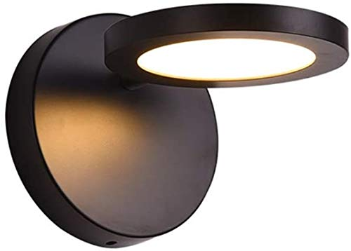 Lámpara industrial, Luces de pared interior posmoderno simple creativo diseño hotelero iluminación congelado sombra negro horneado pintura horrible hierro rotatorio lámpara de pared led cálido luz bla