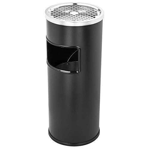 PrimeMatik - Papelera de pie Circular con cenicero Color Negro