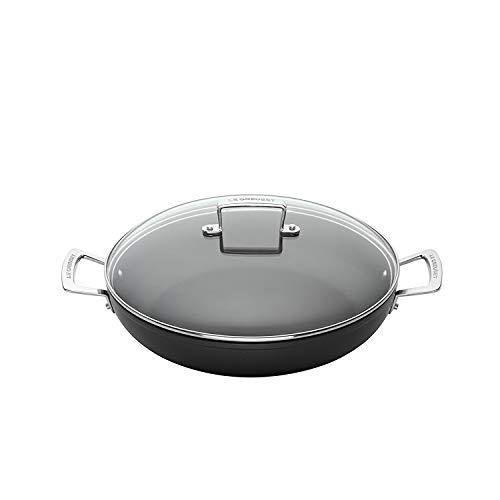 Le Creuset Aluminium-Antihaft Profipfanne mit Deckel, Ø 28 cm, PFOA-frei, Für alle Herdarten inkl. Induktion geeignet, Anthrazit/Silber