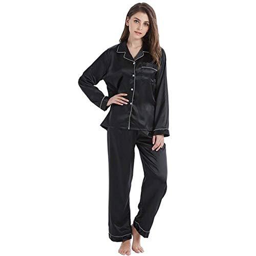 LUOY Damen Pyjama Set,Ladies Warm Supersoft Nighties Schwarz Weiß Pip Langarm Tops Hosen Cosy Stylish Elegant Nightwear Geschenk Homewear Christmas Loungewear, S.