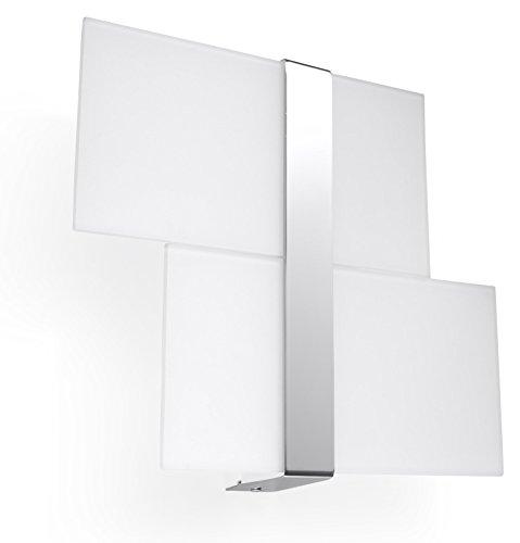 NOVEDAD! Aplique Cromo de sala de estar y pasillo - vidrio y metal - SOLLUX MASSIMO SL.0187 lámpara mural cuadrada, estilo clásico, de 2 luces LED E-27 *** LÁMPARAS - Los precios más bajos en Amazon!