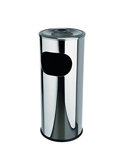 Standascher aus Edelstahl - mit Kunststoffeinsatz, rutschhemmendem Gummibodenring und abnehmbarem Windaschenbecher