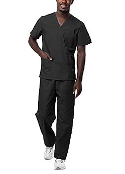 Sivvan Unisex Scrubs - Classic V-Neck Top & Drawstring Pants Scrub Set - S8400 - Black - M