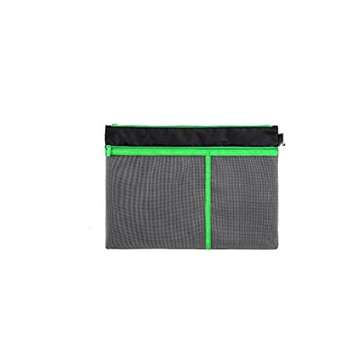 HEMOTONE A4 Bolsa de Archivo Bolsa de Cremallera A4 Almacenamiento de Gran Capacidad Malla de Malla de Malla Bolso Mano Oficina de Estudiante para Business Home School Papel de Prueba (Color : Green)