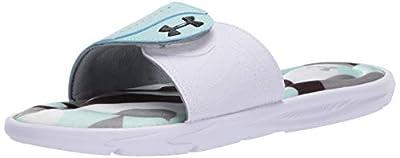 Under Armour Women's Ignite IX Spectrum Slide Sandal, White (100)/Hushed Turquoise, 8 M US