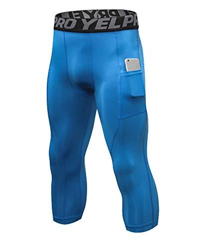 Shengwan 3/4 Workout Leggings Uomo Asciugatura Veloce Calzamaglia Pantaloni a Compressione Fitness con Tasche per Gym Jogging Correre Blu L