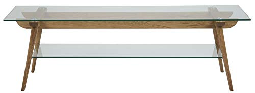 24Designs TV-Meubel Alvar - 160x45x50 - Glazen Tafelblad - Eikenhouten Poten