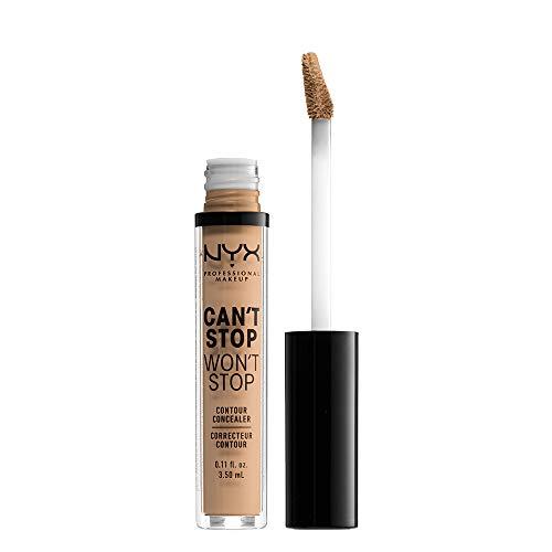 NYX Professional Makeup Can't Stop Won't Stop Contour Concealer - wasserfester flüssiger Abdeckstift, Kaschieren & Highlighten, 3,5 ml, Medium Olive 09