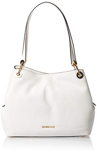 "Optic white rich pebble leather. Open top with magnetic snap closure. Metal logo lettering at bottom center. Flat top handles, 11"" drop. Golden hardware. Interior: center zip compartment, one zip pocket, four slip pockets and key clip. Shoulder bag s..."