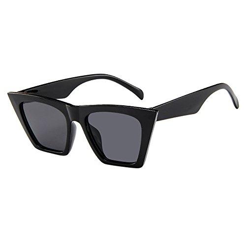 Mode Damen Oversized Übergroße Sonnenbrille Vintage Retro Mode Katzenauge Brille Sonnenbrille Damenbrillen Frauen Cat Eye Sunglasses Sonnenbrille (Schwarz)