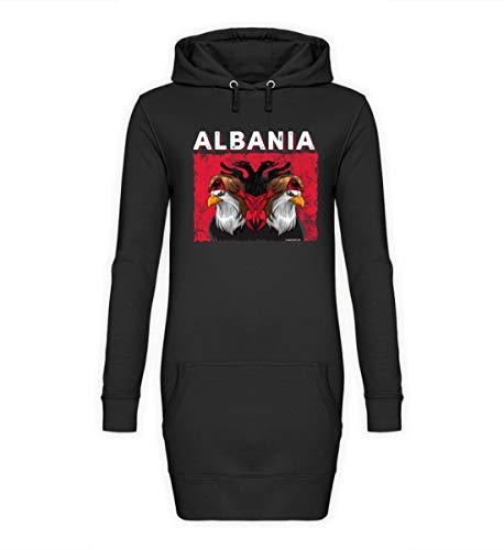 Albanischer Adler Albania T-Shirt Albanien Shqiponja Albanische Flagge Doppelkopfadler - Damen Hoodie-Kleid -M-Jet Schwarz