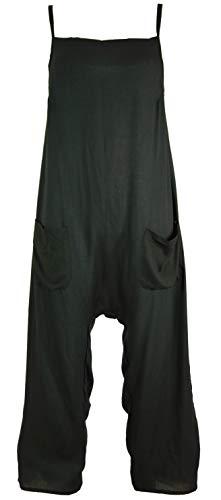 Guru-Shop Sommerliche Latzhose, Ethno Style Boho Einteiler, Overall, Damen, Schwarz, Synthetisch, Size:XL (42), Lange Hosen Alternative Bekleidung