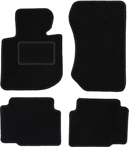 Wielganizator Carlux - Juego de alfombrillas de terciopelo para BMW 3 E36 compact, Coupe, Sedan, Combi, Touring 1991-2000, 4 piezas, color negro