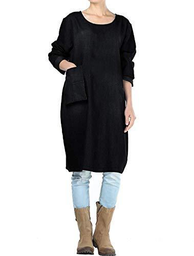 Mallimoda Damen Jeanskleider Langarm Casual Shirt Kleid mit Taschen (XXL, Schwarz)