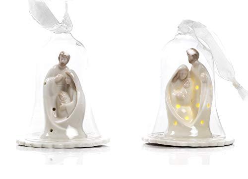 Paben Lot de 2 crèches en porcelaine avec cloche en verre avec LED 10 x 8,2 cm