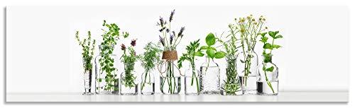 Artland Spritzschutz Küche aus Alu für Herd Spüle 180x50 cm Küchenrückwand mit Motiv Pflanzen Kräuter Gewürze Lavendel Basilikum Blumen H9KE