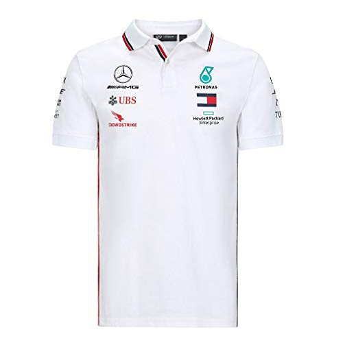 Mercedes-Benz Herren Mercedes AMG Petronas Team Poloshirt Polohemd, Weis, Large 108cm/42in Chest