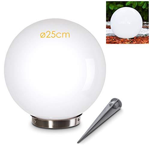 Zonnelamp Nassau, bollamp met aardpennen, bollamp van wit kunststof Ø 25 cm, buitenlamp met aan/uit-schakelaar, zonnelamp met schemerschakelaar